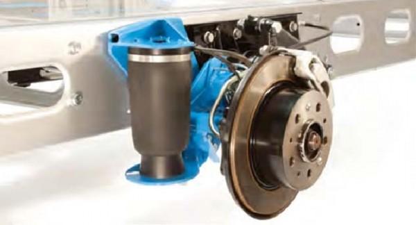 Luftfederung für ALKO ( AL-KO )- Chassis- 2011-, Standard Radaufnahme, Einzelachse, Zusatz-Luftfederung Zweikreis Rollbalg- Anlage, Semi Air Komfortset, Syst. LF1 2881454