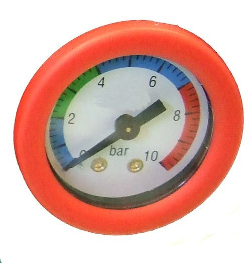 Druckluft Manometer, f. Schlauch, 6,00 mm, rot, Ersatzmanometer 2874224